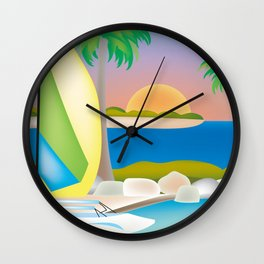 Key West, Florida - Skyline Illustration by Loose Petals Wall Clock