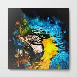 ara blue yellow macaw parrot bird portrait watercolor splatters Metal Print