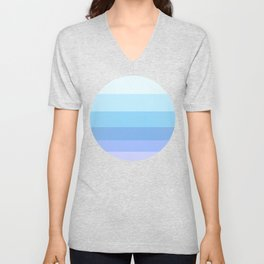 Pastel Blue & Purple Colorful Stripe Pattern Unisex V-Neck