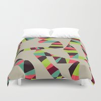 arya Duvet Covers featuring Abstract Vintage Art by Hinal Arya