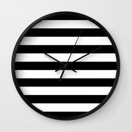 Horizontal Stripes (Black/White) Wall Clock