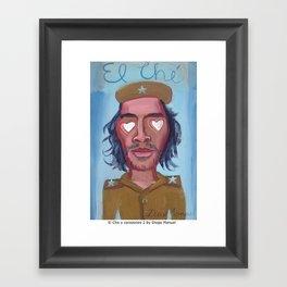 El Che y corazones 2 by Diego Manuel Framed Art Print