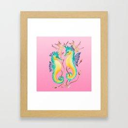 Seahorses Kelp Pink Framed Art Print