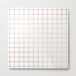 Simply Grid in Rose Gold Sunset Metal Print