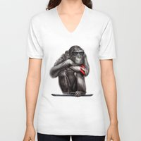 ape V-neck T-shirts featuring Genius Ape by beart24