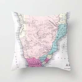 Vintage Map of Southern Africa (1855) Throw Pillow