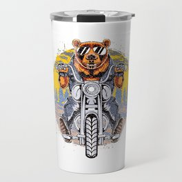 Cool Bear Motorcycle Rider on Bike for Motorcycle and Bear Lover Travel Mug