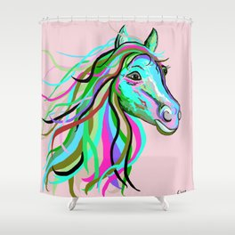 Teal and Pink Horse Shower Curtain