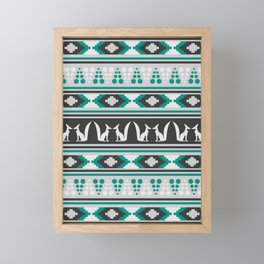 Ethnic pattern with foxes Framed Mini Art Print