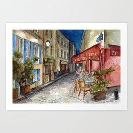 Postcards from Paris - Montmartre by Night: Le Tire-Bouchon Creperie Art Print