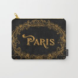 Paris In Gold French Typography Art Carry-All Pouch