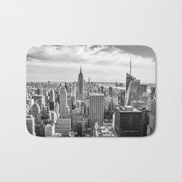 New York City Cityscape (Black and White) Bath Mat