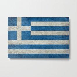 Greek Flag - vintage retro style Metal Print