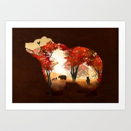 Bears in the Woods Art Print