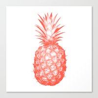 pinapple Canvas Prints featuring Coral Pineapple by CumulusFactory