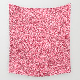 Spacey Melange - White and Crimson Red Wall Tapestry