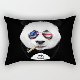 American Panda Black Rectangular Pillow