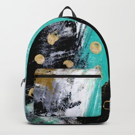 Fairy Dreams: an abstract mixed media piece in black, white, teal, and gold Backpack