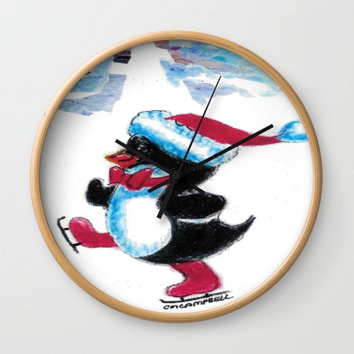 Penguin Skater Wall Clock