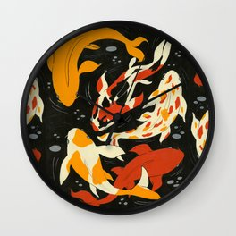 Koi in Black Water Wall Clock
