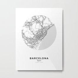 Barcelona Circle Map Metal Print