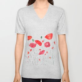 red and orange poppy field Unisex V-Neck