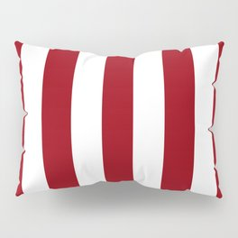 Sangria red - solid color - white vertical lines pattern Pillow Sham