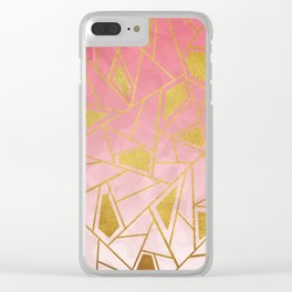 Geometric pink & gold pattern Clear iPhone Case
