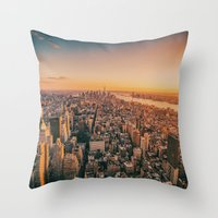 nyc Throw Pillows featuring NYC by Vivienne Gucwa