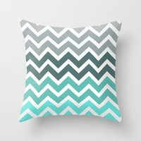 chevron Throw Pillows featuring Tiffany Fade Chevron Pattern by RexLambo