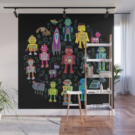 Robots in Space - on black Wall Mural