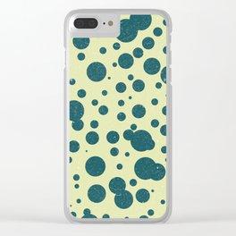 Dots Pattern 2 - Tea, Blue - Ceramic Tile Pattern - Surface Pattern Design - Mediterranean Pattern Clear iPhone Case