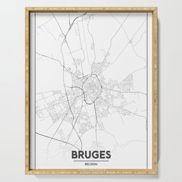 Minimal City Maps - Map Of Bruges, Belgium. Serving Tray