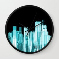 hologram Wall Clocks featuring Hologram city panorama by GrandeDuc