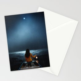 Woman in a boat in the ocean at night-Lantern Lights Stationery Cards