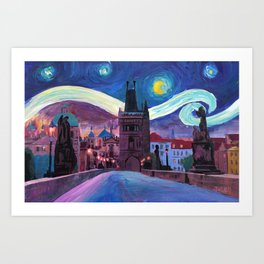 Starry Night in Prague - Van Gogh Inspirations on Charles Bridge Art Print