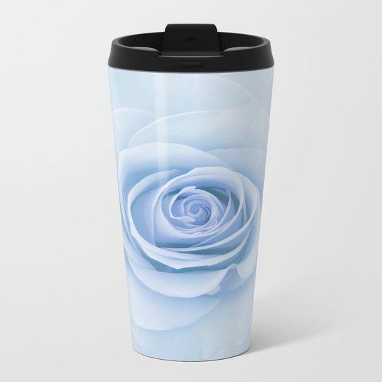 Soft Baby Blue Rose Abstract Metal Travel Mug