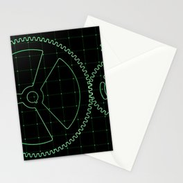 Set of green gears and cogs on virtual screen Stationery Cards