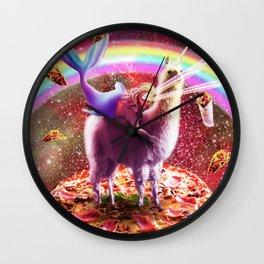Laser Eyes Outer Space Mermaid Riding Llama Wall Clock