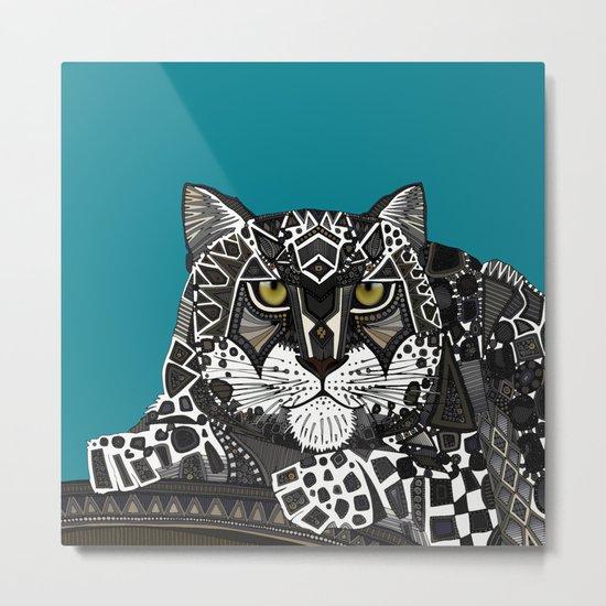 snow leopard teal Metal Print