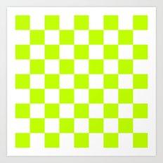 Checker (Lime/White) Art Print