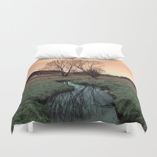 A stream, dry grass, reflections and trees II | waterscape photography Duvet Cover