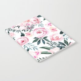 Floral Rose Watercolor Flower Pattern Notebook