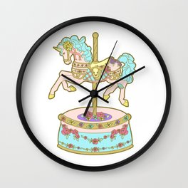 Carousel Unicorn Pink and Turquoise Wall Clock