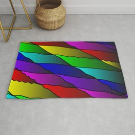 Slanting rainbow lines and rhombuses on red with intersection of glare. Rug