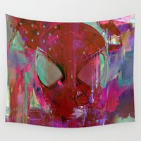 spider man Wall Tapestries featuring Spider Abstract Man by Joe Ganech
