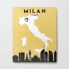 MILAN ITALY LOVE CITY SILHOUETTE SKYLINE ART Metal Print
