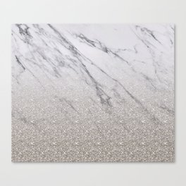 Beige glitter gradient on marble Canvas Print