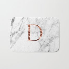 Monogram rose gold marble D Bath Mat
