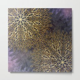 Gold Mandalas on Violet Background Metal Print